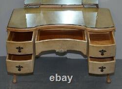 Vintage Art Déco Style 1940's Burr Light Walnut Dressing Table Tri Fold Miroirs