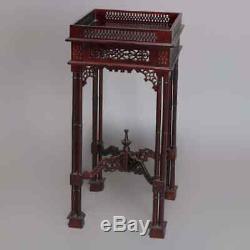 Vintage Chinois Chippendale Et Coupe-circuit Forme Bambou Acajou Béquille Latérale