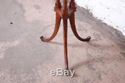 Vintage Chippendale En Acajou Sculpté Faux Bambou Piédestal Stand Usine