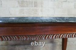Vintage Chippendale Style Ahogany Sculpté Marbre Hall Console Tables Boule Claw