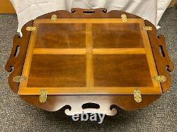 Vintage Chippendale Style Inlaid Ahogany Butler's Table De Café De Haute Qualité
