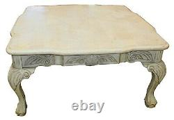 Vintage Chippendale Style Tessellated White Marble Coffee & Cocktail Table