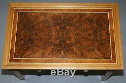 Vintage David Linley Signé 1995 Noyer Et Sycamore Bois Table Basse Avec Tiroirs