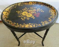 Vintage Decores Tole Plateau De Table Folk Art Bambou Métal Or Gilt Chippendale