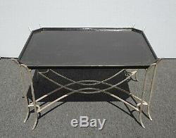 Vintage Dennis & Leen Chippendale Chinioiserie Black Coffee Table Avec Base D'argent