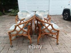 Vintage Ficks Reed Chinese Chippendale Bamboo Rattan Set À Manger