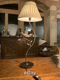 Vintage Français Des Oiseaux Lampe De Table, Frotté Dorure