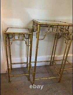 Vintage Gilt Metal Faux Bamboo Chinoiserie Chippendale Table Set End Stand