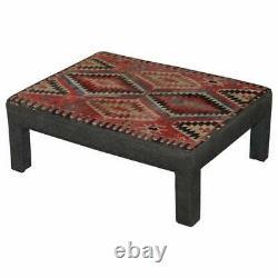 Vintage Kilim Rembourré Banc Tabouret Ottoman Peut Être Utilisé Comme Table Basse