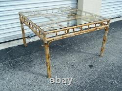 Vintage MCM Chinois Chippendale Burnt Bamboo Wicker Wrap Side Table