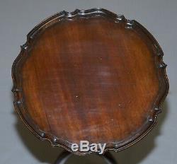 Vintage Mahogany Pie Crust Bord De Trépied Fin De La Lampe À Vin Table Claw & Ball