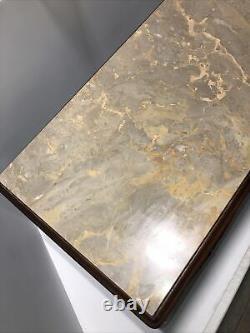 Vintage Marble Top Acajou Rectangle Table Basse Main Jambes Sculptées