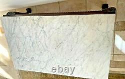 Vintage Marble Top Acajou Rectangle Table Basse Main Sculptée Balle Griffe Jambes