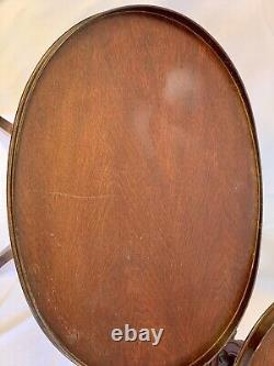 Vintage Mersman Meubles Acajou Bois Lyre Tables D'extrémité De Base Avec Pieds De Griffe