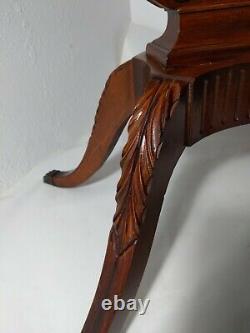 Vintage Mersman Ovale Socle Harp Lyre Acajou Table Chippendale Pieds Claw