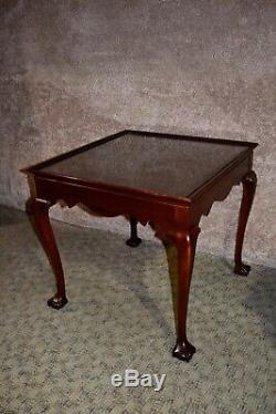 Vintage Paire De Drexel Acajou Style Chippendale À Billes Et À Pied Side Tables Claw
