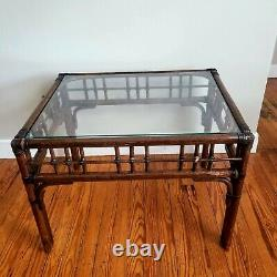 Vintage Palm Beach Regency Chippendale Chineserie Bamboo Table D'appoint