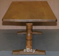 Vintage Robert Thompson Mouseman En Chêne Massif Réfectoire Table À Manger 230 X 86 CM