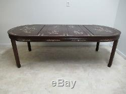 Vintage Rosewood Chinois Chippendale Nacre Salle À Manger Banquet Table