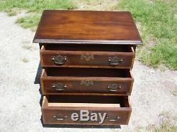 Vintage Style Anglais Provincial Acajou Fasciée Table De Chevet Commode Fin Stand