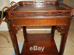 Vintage Style Chippendale Mahogany 2 Niveau Lampe De Table Beaux-arts Société Antique