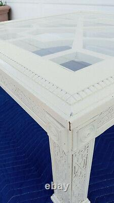 Vintage Thomasville Fret Work Chinois Chippendale Square Table Basse Blanche