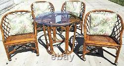 Vtg Chippendale Ficks Reed Bambou Rotin Canné Cocktail Dînatoire Set De Table Chaises