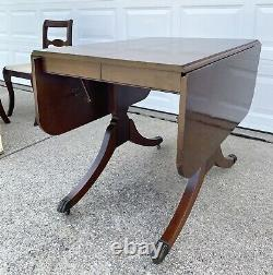 Vtg Duncan Phyfe Drop Leaf Table Table Chaises Craddock Claw Pieds Bois Acajou