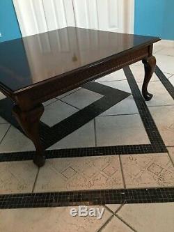 XL Antique Table Basse En Bois Massif Incrusté Chippendale Cabroile Jambes Traditionnelles